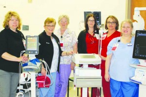 Some of the staff members at ACRMC's Cardiac Telemetry Dept: Rachel Cummings, RN with vital signs machine; Debra Horvath, RN; Erma Hoop, RN with EKG machine; Dawn Clark, Respiratory Therapist; Tammy Akers, RN;Aimee Sundeen, RN with ultrasound equipment.