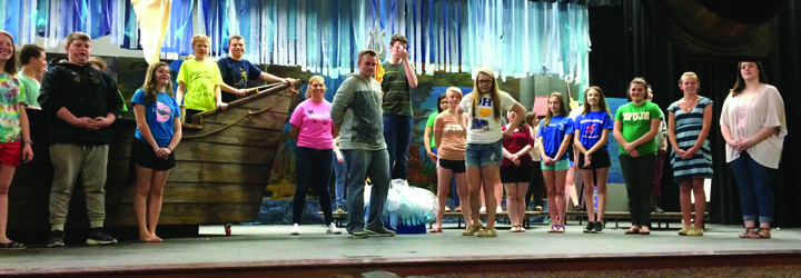 "Cast members of ""The Little Mermaid"" are busy preparing for their opening performances next week at West Union High School.  Photo by Jamie Puckett."