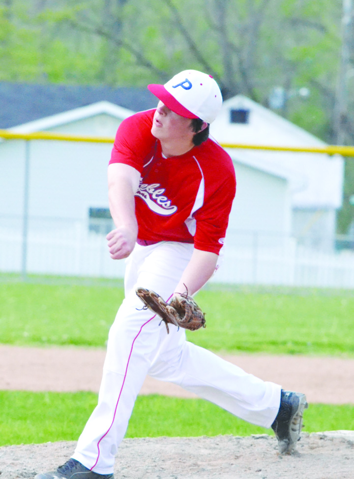 Peebles right hander Stephen Penn threw his second shutout of the 2016 season last week in Ripley as he one-hit the Blue Jays in a 7-0 Indian victory.  Photo by Mark Carpenter