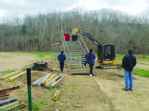 A driver's stand is currently under construction at the RC racing facility in Dunkinsville.