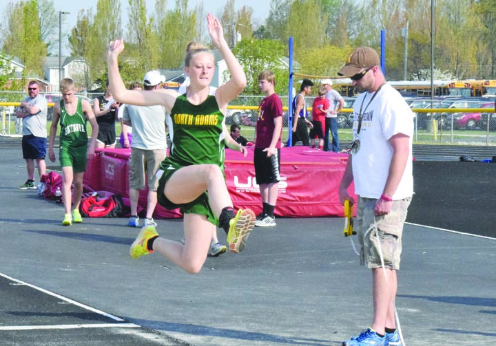 North Adams' Gracie Roades competes in the Long Jump event at the April 19 Western Brown Invitational.  Photo by Mark Carpenter