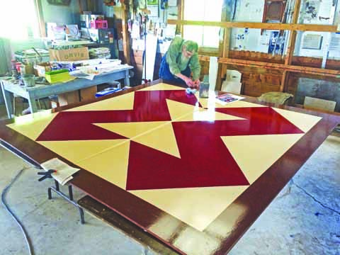 Lost many years ago, the Brown Goose Quilt Square is in the process of being restored.