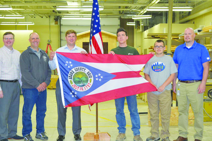 From left, County Commissioners Stephen Caraway, Brian Baldridge, and Paul Worley, Eagle Scout Candidate Jesse Hall, Eagle Scout Austin Rapp, and Jason Vesey, Principal of the Ohio Valley Career and Technical Center.
