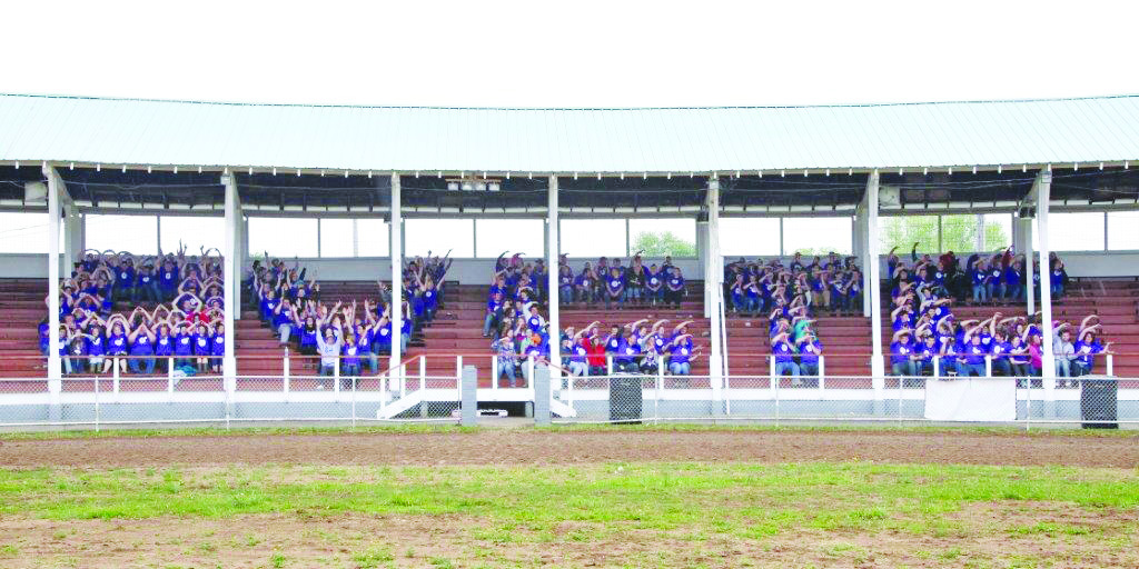 At the culmination of their outstanding Community Day efforts, the students from the OVCTC showed a little school spirit in the grandstand at the Adams County Fairgrounds.