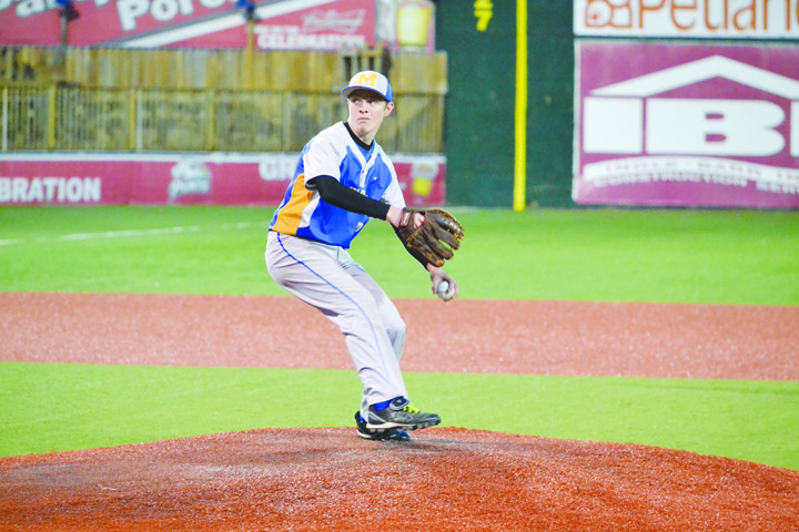 Manchester senior southpaw Rickey DeAtley, in his final game as a Greyhound threw 3 2/3 innings in relief as the Hounds saw their 2016 season come to an end with a 10-6 defeat to the Belpre Golden Eagles in a game played at VA Memorial Stadium in Chillicothe.  Manchester ended the season with a record of six wins and 10 losses.  Photo by Mark Carpenter.