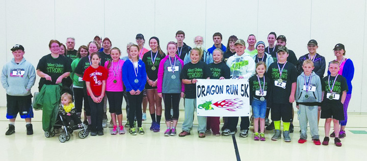 Pictured here are all the participants in the first-ever Dragon Run 5K/Walk, held at West Union High School/Elementary on May 14.