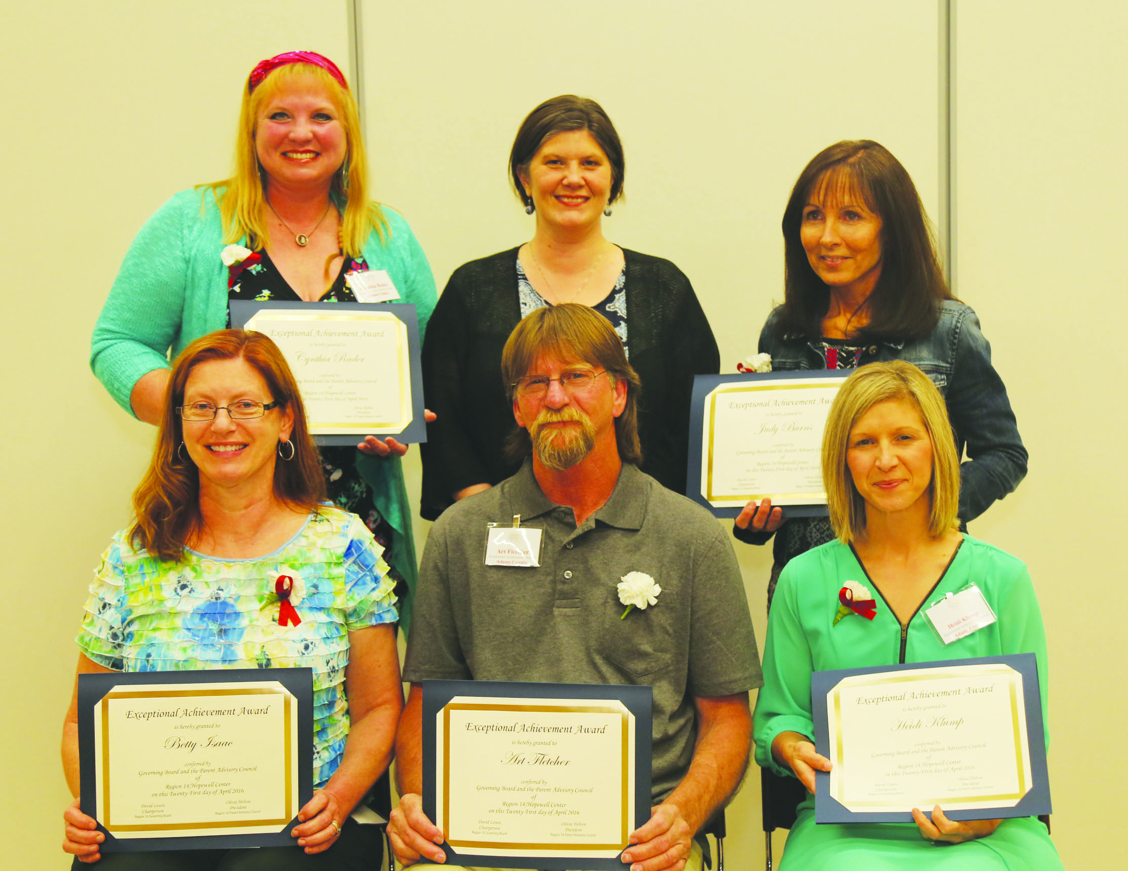 Front Row, from left, Betty Isaac; Art Fletcher and Heidi Klump; Back Row, from left, Cynthia Rader; Kelly Churchwright, Office of Exceptional Children; and Judy Burns.