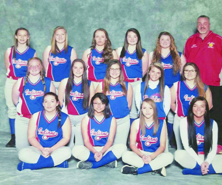 The 2016 Peebles Lady Indians JV softball team: Front row, from left, Nicole Burns, Tasia Smith, Rebecca Kinnett, and Mackenzie Jordan; Middle row, from left, Skylar Renchen, Johna Dunigan, Francis Rogers, Courtney Spires, and Amber Chapman; Back row, from left, Abbey Smart, Star Robinson, Mackenzee Farahay, Cheyann Meyer, Gabby Houchen, and Lady Indians Varsity coach Doug McFarland.  Provided photo.