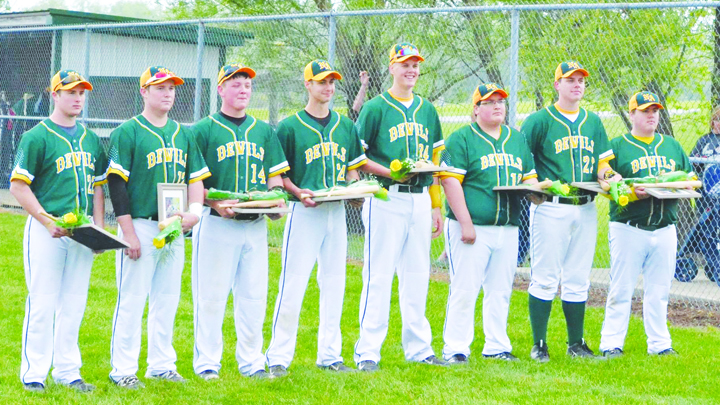 The North Adams baseball program said farewell to these eight graduating seniors.  From left, Austin Copas, Mikey Sheeley, Kenny Branch, Cole Roades, Trey Meade, Justin Hilderbrand, Cole Meade, and Avery Lucas.