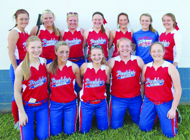 The Peebles Lady Indians finished the 2016 season with a record of 17-6 and were winners of the big school division of the SHAC and the Division IV sectional. Front row, from left, Josie Myers, Aubrey McFarland, Hayley Rolfe, McKenzie Swango, and Kylie Sims; Back row, from left, Sierra Stone, Jessica Sowards, Kaitlin Toller, Jerilin Toller, Johna Dunigan, Matti Nichols, and Madison Pierce.