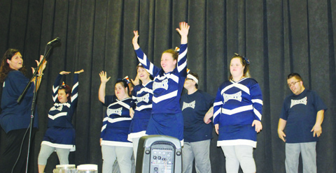 The cheer squad from Venture Productions made an appearance at Senior Citizens Day, bringing their usual burst of smiles and enthusiasm. Photo by Patricia Beech.