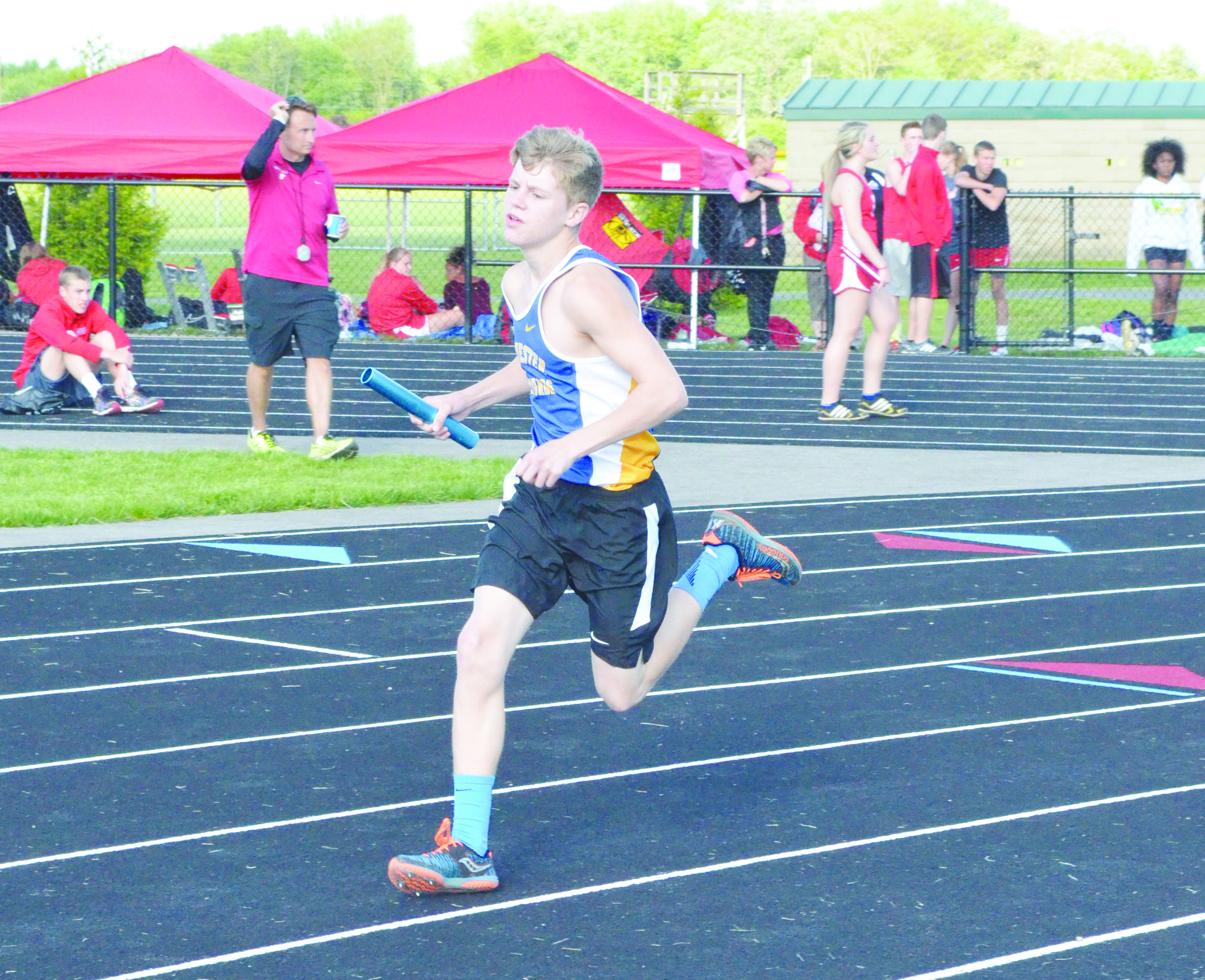 Manchester sophomore Ethan Pennywitt placed third in the Boys 3200 Meter Run and was part of the Greyhounds' 4 x 800 relay foursome that placed second in competition at the 2016 SHAC meet.  Photo by Wade Linville.