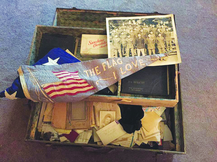 This trunk of mementoes from the war experiences of Ralph and Albert King has been saved all these years by their mother Janie King.