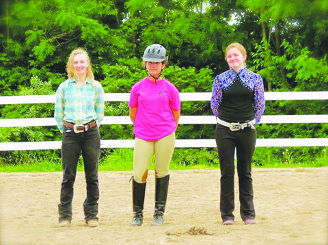 Newly selected 2016-17 Adams County Equine Ambassadors include, from left to right, Addi Jackson, Ryanna Shear, and Karlie Harper. They will represent the equine program at the 2016 Fair and in a variety of parades this fall.