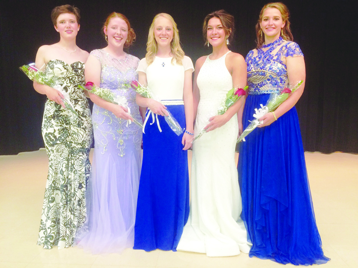 The 2016 Adams County Junior Fair Queen finalists include, from left, Molly Bauman, Jordan Crum, Sarah McFarland, McKayla Smith, and Caitlin Young.