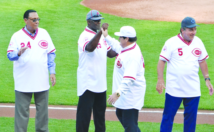 Pictured here are four members of the 1976 World Champion Cincinnati Reds who took part in on-field ceremonies last Friday night at Great American Ball Park.  From left, Tony Perez, George Foster, Pete Rose, and Johnny Bench.