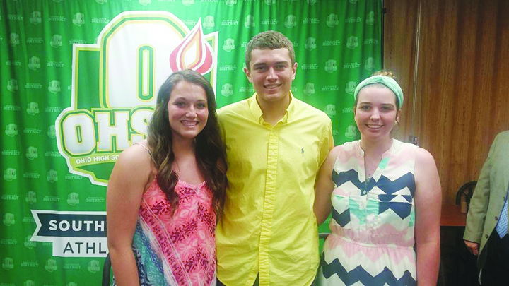 From left, Morgan Johnson, Sean Frost, and Jade Spriggs were awarded OHSAA Southeast District Scholarship at ceremonies on June 23.