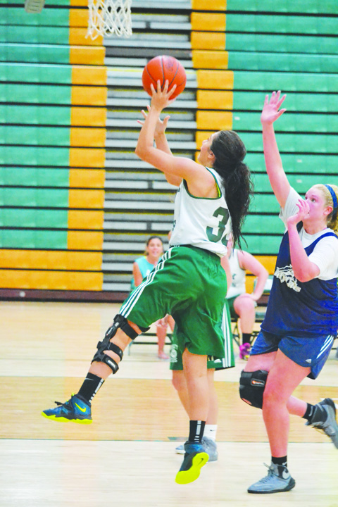 At left: Even though it's just summer league action, the North Adams Lady Devils still manage to show up with their ferocious trapping defense. Here, Lady Devils' Taylor Hesler (4) and Brooklyn Stout put the clamps on a Blanchester ball handler.