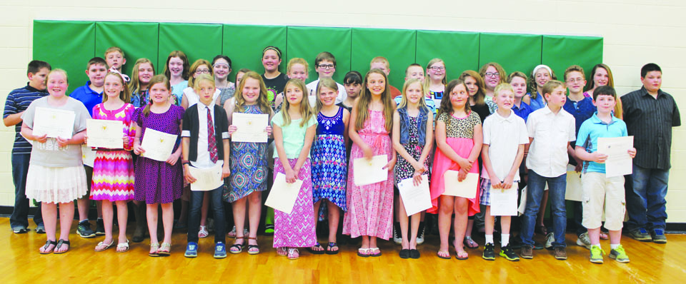These students from West Union Elementary School were among those who received the President's Award for Educational Achievement during the OVSD school board meeting on Thursday evening.