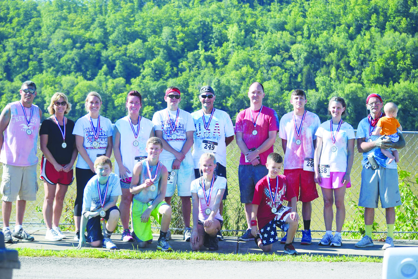 "Pictured are the age group winners in the ""Red, White, and Greyhound Blue"" 5K Run/Walk held on Saturday, July 2 and organized by the Manchester High School Volleyball program."