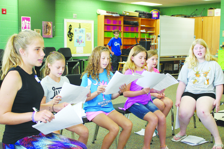 These youngsters work on their drama skit, preparing for their performance for the public on Friday of Summer Arts Camp.