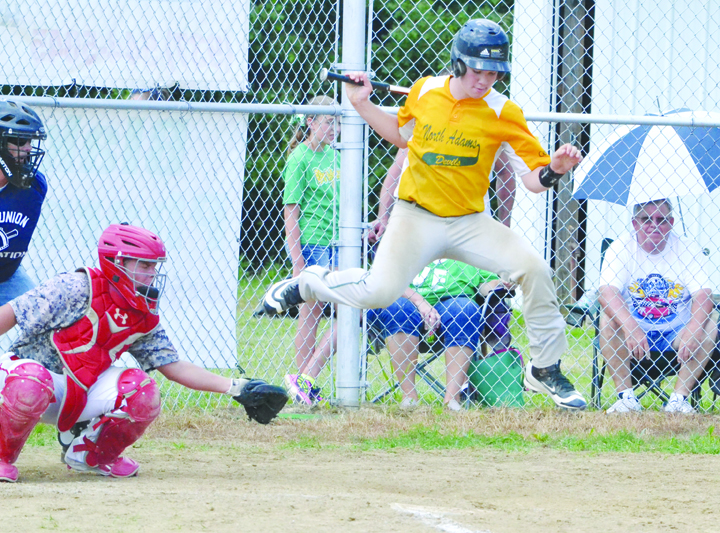 "Zach Osborne of North Adams needs all his acrobatic skills to get out of the way of this pitch during action from the ""B"" league All-Star Game last Saturday."