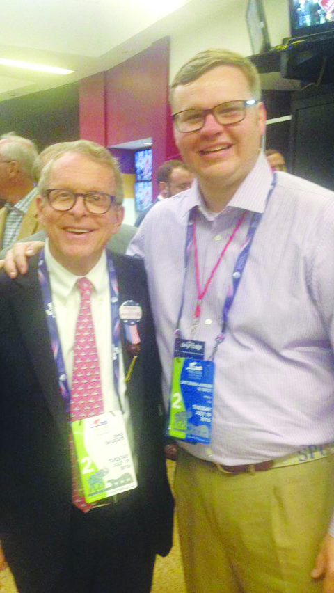 Adams County Commissioner Stephen Caraway, right, attending last week's Republican Convention in Cleveland, is seen here with Ohio Attorney General Mike DeWine.