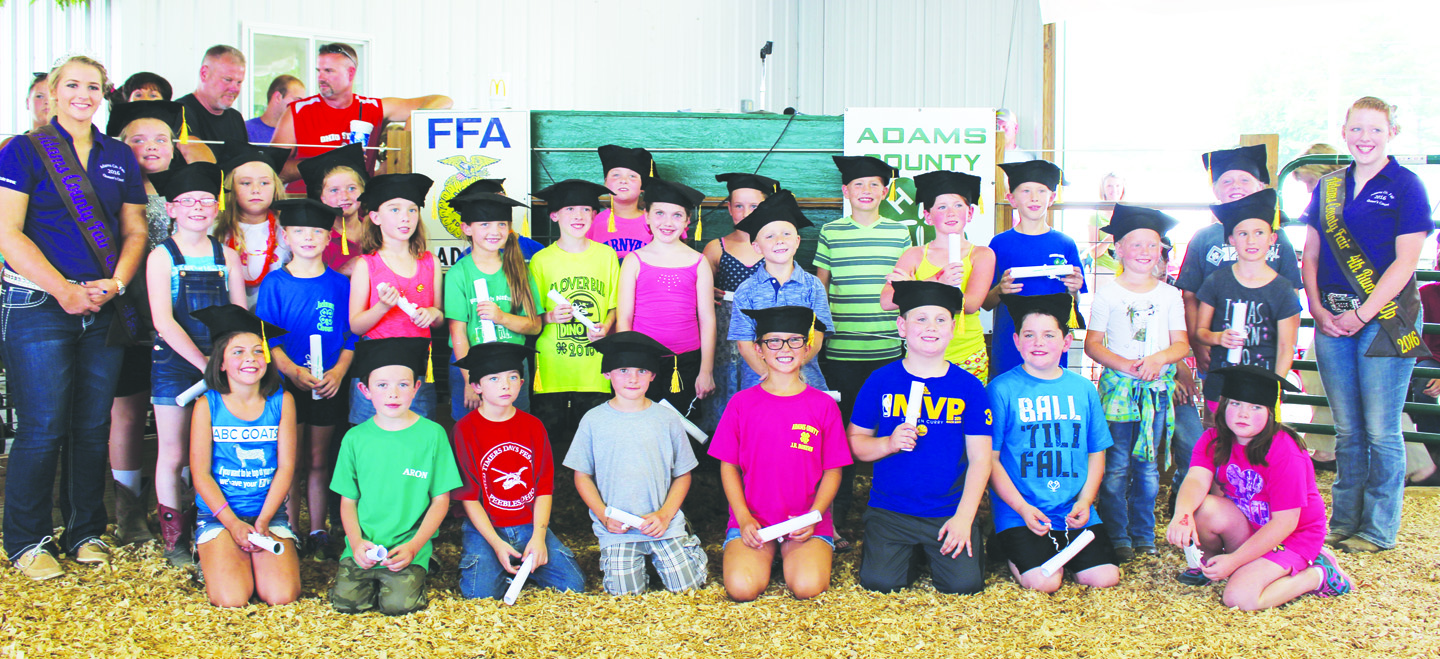 Pictured here are the 2016 Cloverbud graduates who were recognized in ceremonies on Wednesday of last week's Adams County Fair. Photo by Patricia Beech.