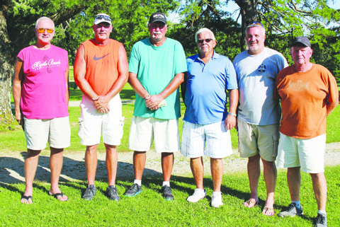 Second place in the July 16 Golf Scramble at Hilltop Golf Course was the team of, from left, Jeremy Young, Craig Horton, Jameon Jones, Trae Edwards, Dick Hoop, and Matt Fisher.  Photo by Patricia Beech