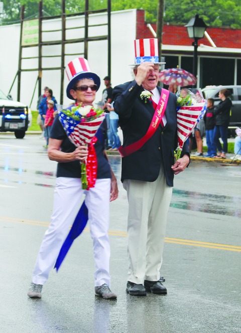 Mike and Paulette Roberts served as the Grand Marshals for the West Union Fourth of July Parade and were quite appropriately dressed for the occasion.