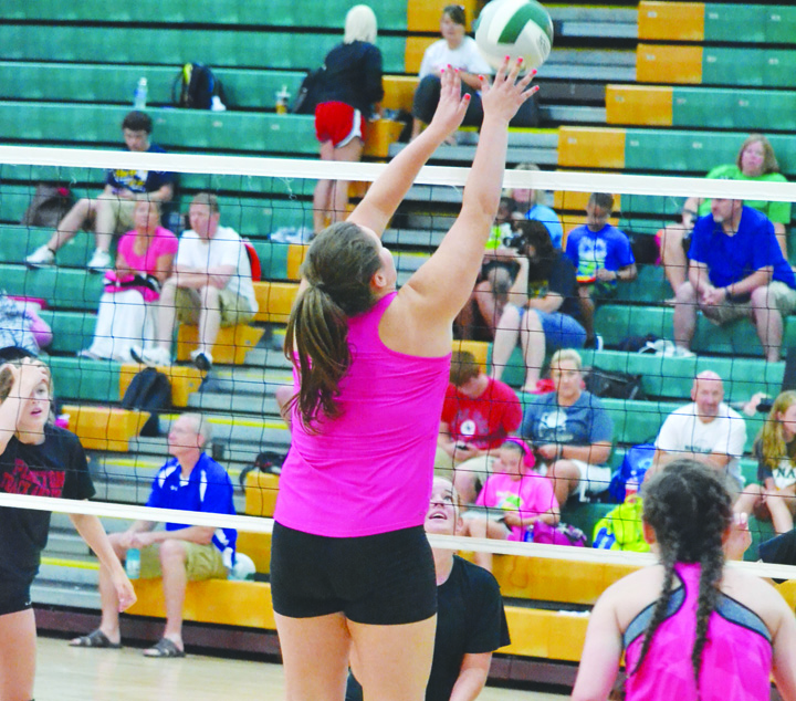 North Adams' Avery Harper battles at the net in action from last week's pre-season volleyball tournament in Seaman.