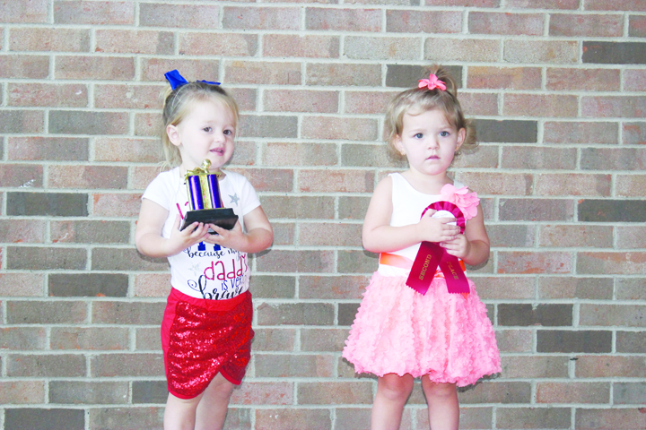 The winners in the Girls 19-28 months category were, from left, Paisley Grooms-First Place and Lakyn Nitchke-Second Place.