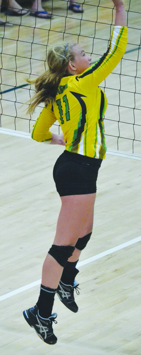 Jaycee Baldwin led the Lady Dragons in kills in their season-opening loss to Southeastern Ross.