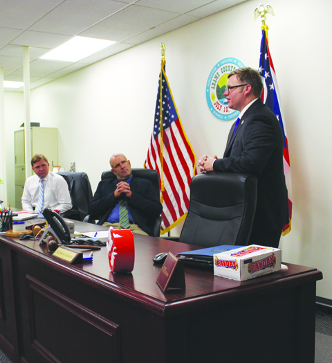 Departing Adams County Commissioner Stepehn CAraway addresses the audience during activities on his final day in office on Aug. 8.