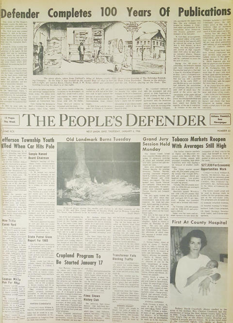 The Jan. 6, 1966 issue of The People's Defender announced the 100th birthday of the newspaper.