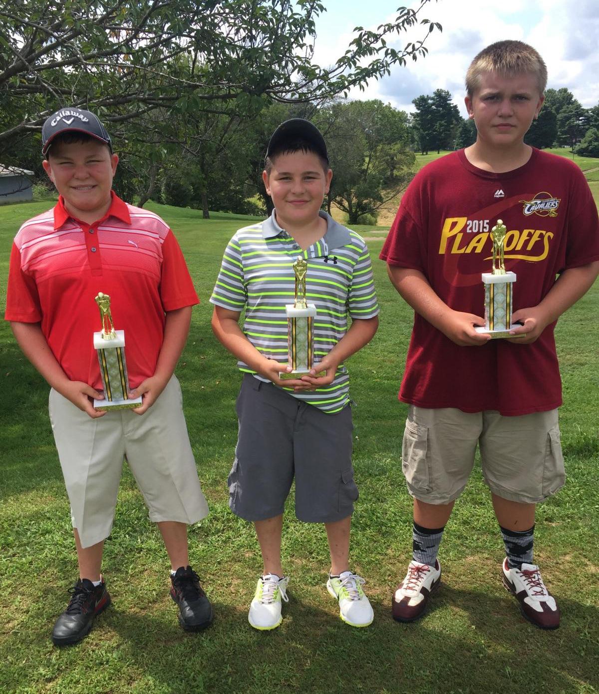 Boys Second Flight winners: From left, Dakota Pell-First Place, Derrick Pell-Second Place, and Luke Hayslip-Third Place.