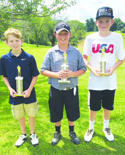 Boys Third Flight winners: From left, Carson Chaney-First Place, Aden Weeks-Second Place, and Dawson Mills-Third Place.