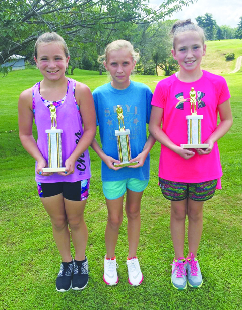 Girls First Flight winners: From left, Taylor Ralston-First Place, Peyton Gordley-Second Place, and Payton Stapleton-Third Place.