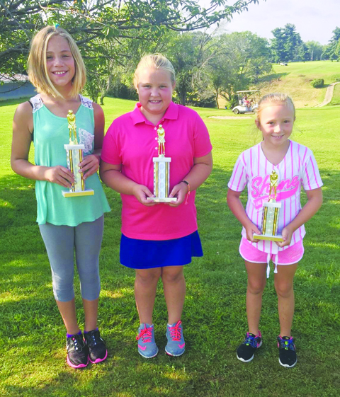Girls Second Flight winners: From left, Koryne Blanton-First Place, Jenna Campbell-Second Place, and Carlee Garrison-Third Place.