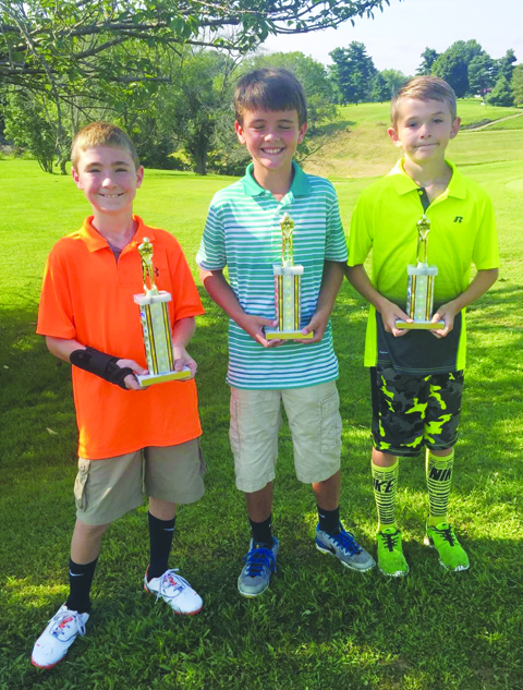 Boys Fourth Flight winners: From left, Joseph Hazlett-First Place, Drew Kennedy-Second Place, and Chase Taylor-Third Place.