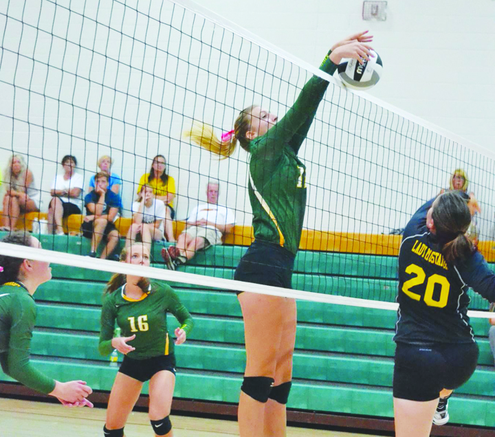 The net play of senior Madison Jenkins will be a key to the success of the 2016 North Adams Lady Devils volleyball squad.
