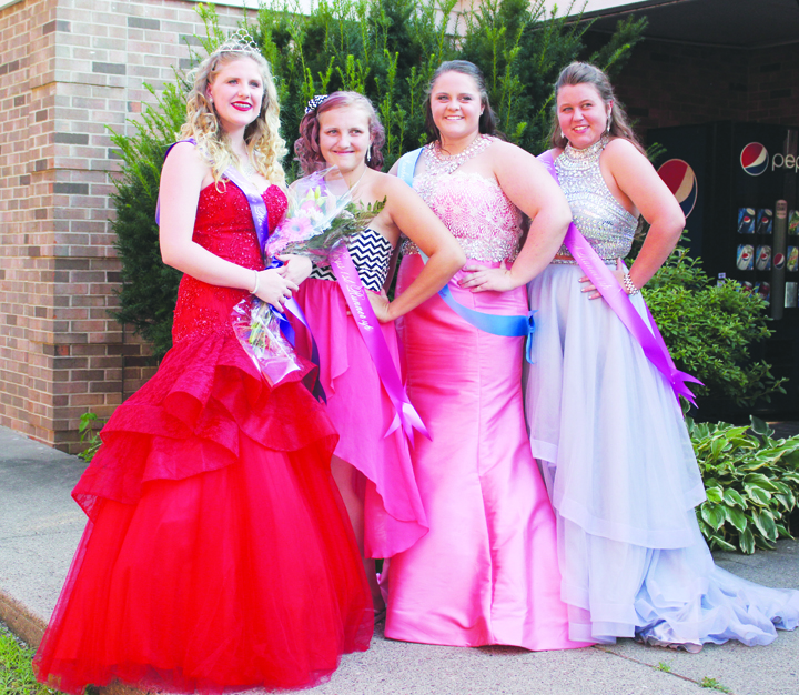Royalty was crowned last Thursday night for the 2016 Manchester River Days celebration.  From left, 2016 River Days Queen Gabi Lainhart, First Runner-Up Kayle Thomas, Second Runner-Up Miranda Schiltz, and Third Runner-Up Miranda Jackson.  Photo by Patricia Beech