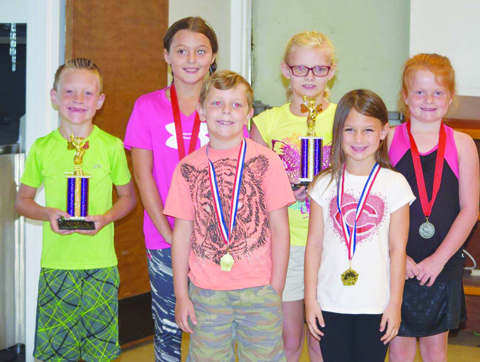 More winners- Front row, from left, Max Gray and Kaydence Newland; Back row, from left, Jacob Crabtree, Olivia Blythe, Nora Gray, and Kloe Henschen.