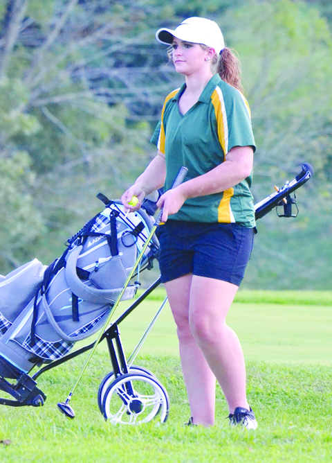 North Adams' Caitlin Young led the Lady Devils with a 45 for nine holes in last Friday's girls' golf match at the Adams County Country Club.