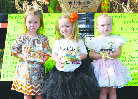 Winners in the Girls 2-Year Old category were, from left, First Place- La'Vaya Stevens, Second Place- Paisley Grooms, and Third Place- Chellie Maynard.