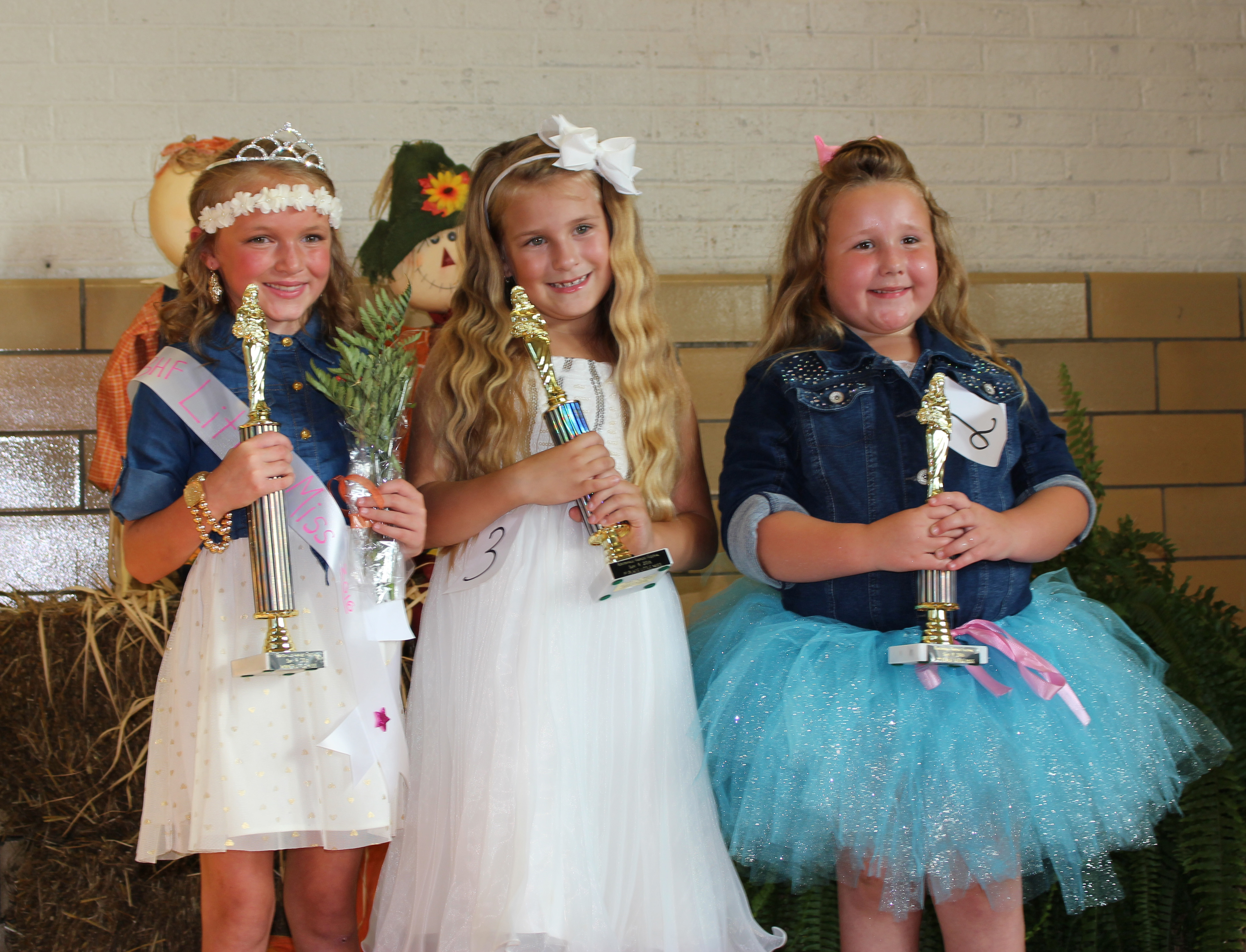 The winners in the Little Miss contest were, from left, Little Miss Jadelynn Conley, Second Place- Vacilya Begley, and Third Place- Ashlyn Fitzgerald.
