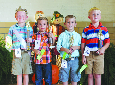 The winners in the Little Mister contest were, from left, Little Mister Gavin Rowe, Second Place- Bentley Zinn, Third Place (tie)- Josef Begley and Traevyn Hilderbrand.