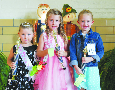 Winners in the Little Miss Toddler contest were. from left, First Place- Chloie Maynard, Second Place-Zaylee McClanahan, and Third Place- Kiah Bayless.