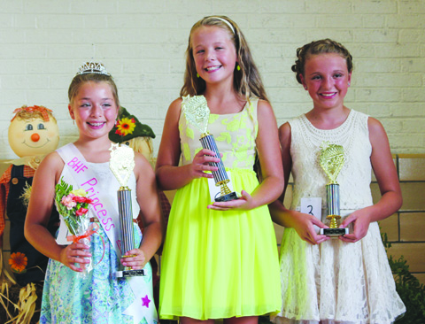 The winners in the Harvest Festival Princess contest were, from left, Princess Zoey Fuchs, Second Place- Alexa Rowe, and Third Place- Elayna Kingsolver.
