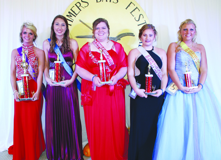 Chosen on Thursday, Sept. 15, here is the 2016 Peebles Old Timer's Days Queen and Court.  From left, 2016 Queen Cortney Spires, First Runner-Up Emily Hudgel, Second Runner-Up Hope Kreml, Third Runner-Up Kennedi Newman, and Fourth Runner-Up Jessica Sowards.